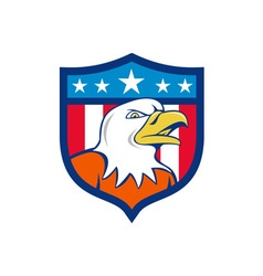 American bald eagle head angry flag crest cartoon vector