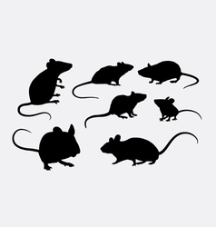 Rat and mice silhouettes vector