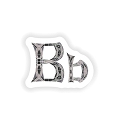 Sticker low poly letter b in gray mosaic polygon vector