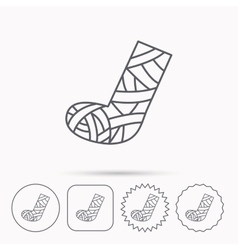 Gypsum or cast foot icon broken leg sign vector