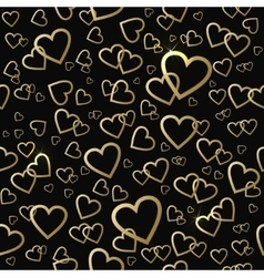Seamless pattern with gold shining hearts vector