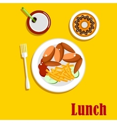 American fast food lunch menu elements vector