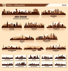 City skyline silhouette Asia set vector image
