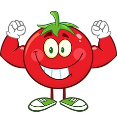 Muscly tomato cartoon vector
