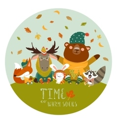 Happy animals meeting autumn vector