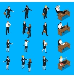 Business people work isometric icons set vector