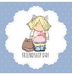 Cute girl with cat doodle  friendship vector