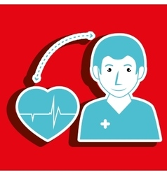 Nurse man and cardiology isolated icon design vector