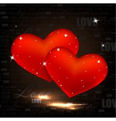 beautiful red hearts with diamonds valentines day vector image vector image