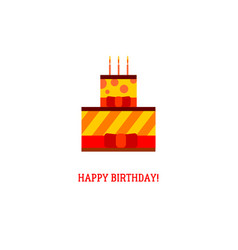 birthday cake with three candles vector image vector image