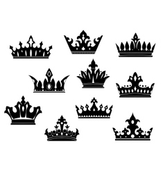 Black heraldic crowns set vector image