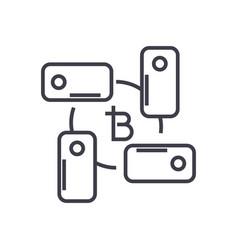 blockchain technology linear icon sign symbol vector image