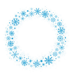 blue frame with winter snowflakes vector image