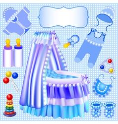 Blue set of childrens cradle vector