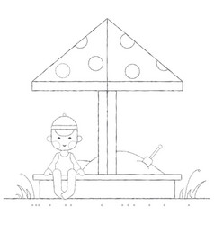 boy playing in the sandbox outline vector image vector image