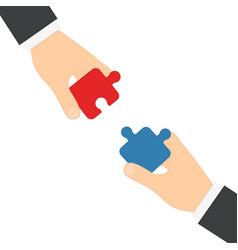 businessmen hands puzzles vector image vector image