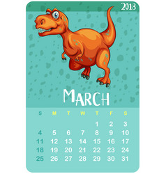 Calendar template for march with t-rex vector