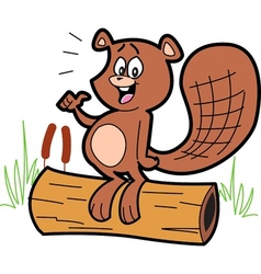 Cartoon beaver on log vector