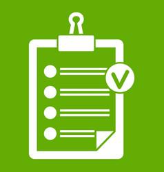 check list icon green vector image vector image