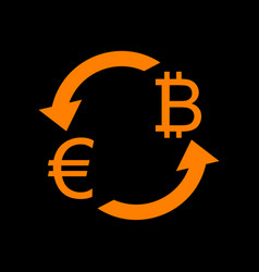 Currency exchange sign euro and bitkoin orange vector