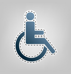 Disabled sign blue icon with vector