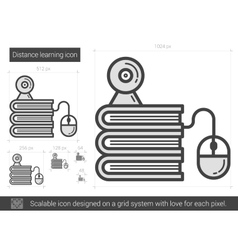 Distance learning line icon vector