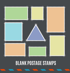 Empty template blank postage stamps set vector