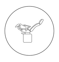 Gynecologic chair icon in outline style isolated vector