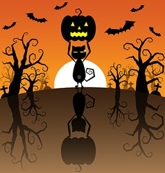 Halloween Background with Pumpkins and black cat vector image
