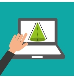 Hands holds laptop-online education geometry vector