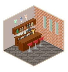 Isometric bar interior vector image vector image