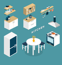Isometric kitchen interior objects - 3d vector