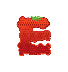 Letter e strawberry font red berry lettering vector