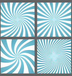 Light blue spiral and ray burst background set vector
