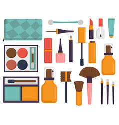 Makeup icons perfume mascara care brushes comb vector