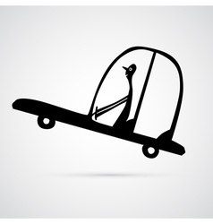 Man driving car silhouette vector