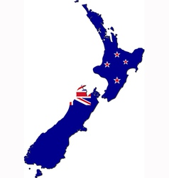 Map of new zealand with national flag vector