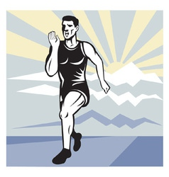 Marathon road runner jogger fitness trai vector