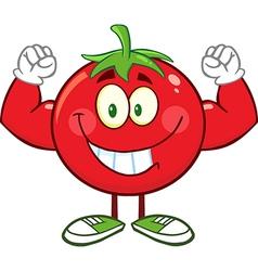 Muscly tomato cartoon vector