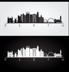 Perth skyline and landmarks silhouette vector