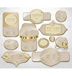 Retro white gold label vector image