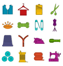 sewing icons doodle set vector image
