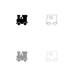 steam locomotive - train black and grey set icon vector image vector image