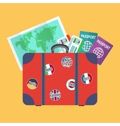 Traveler suitcase earth map passports vector