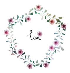 Watercolor floral background with hand painted vector