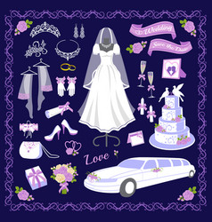 wedding cartoon style icons vector image vector image