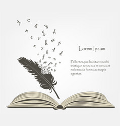 writing old feather with flying alphabet letters vector image vector image