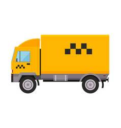 Yellow taxi truck van car vector