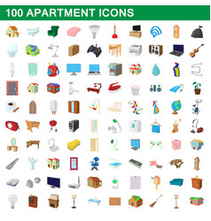 100 apartment icons set cartoon style vector image