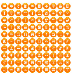 100 electrical engineering icons set orange vector